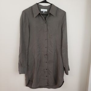 WAYF olive green button down long sleeve dress
